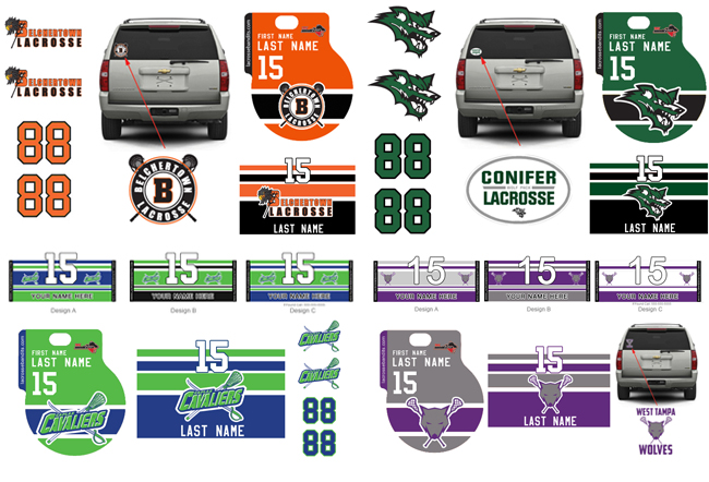 Custom team ordering packages may include stick decals helmet stickers and car window decals featuring your lacrosse teams colors and logos